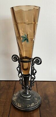 Benedict Manufacturing Co Glass Vase & Silverplate Base Antique (Read Details)