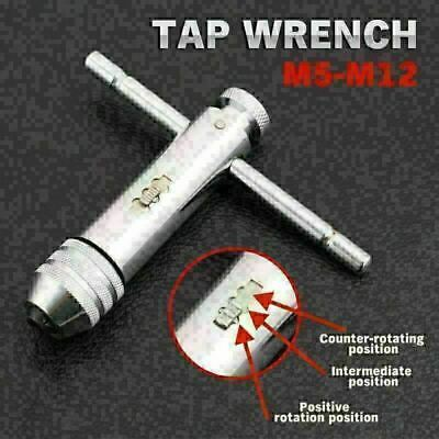 Engineers M5-M12 Reversible Bar T-Handle Die Set Ratchet Tap Wrench WS