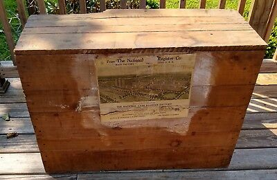 National Cash Register Large Original Wood Shipping Crate Dated 1919