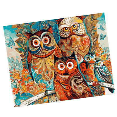 Canvas DIY Oil Painting by Number for Learning Drawing Wall Art Decor Owl