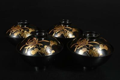 A3197: Japanese Wooden Butterfly Flower gold lacquer pattern SOUP BOWL/dish 4pcs