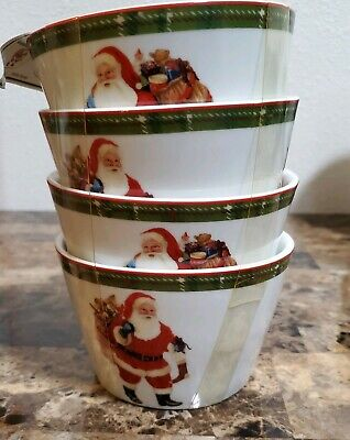 222 Fifth Hello Santa Christmas 8 Appetizer Dessert Bowls Set Of 4 NWT