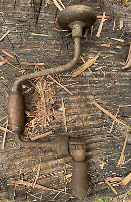 Vintage Stanley Brace and Bit Drill .Hand Drill.  Wood Handles.