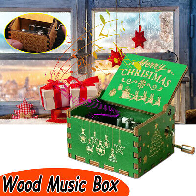 Retro Vintage Hand Cranked Wood Music Box Home Crafts Musical Case Decor Gifts