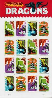 Dragons 2018 USPS Forever First Class Postage Stamp Sheet of Sheet 16 New