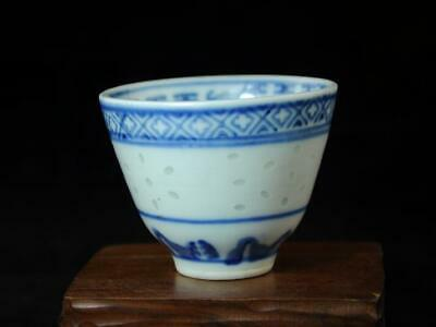China Old Hand-made Blue And White Porcelain Collection Porcelain Cup A02