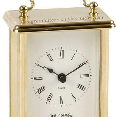 Personalised Wm.Widdop Gold Coloured Carriage Clock with White Dial