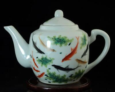 China Old Hand-made Famille Pastel Porcelain Hand Painted Goldfish Teapot B02