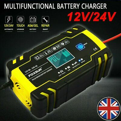 LCD Intelligent 12V 24V Motorcycle Car Battery Charger Automatic Smart Trickle