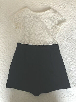 TED BAKER Smart girls black and white short occasion playsuit 7 Years