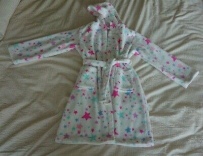 Blue Zoo Girl's Star Soft Fleece Hooded Bath Robe Dressing Gown Age 9-10 Years