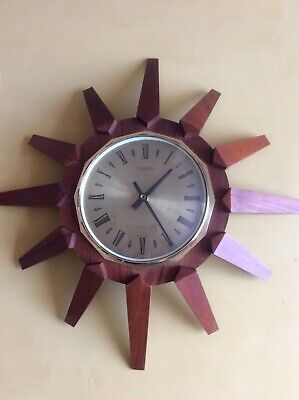 Vintage Anstey and Wilson sunburst clock 18.5x18.5 inches