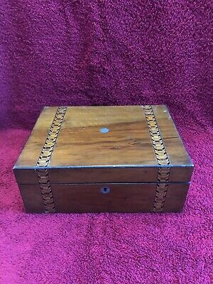 Vintage Wooden Marquetry Writing Box / Slope