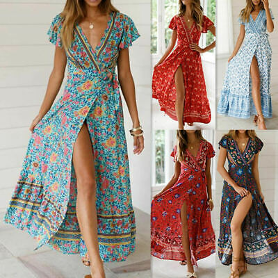 AU Boho Womens V Neck Floral Slit Holiday Ladies Summer Long Maxi Wrap Sun Dress