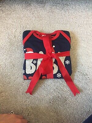 Christmas Pjs Xmas Baby Boy Girl Red Bkue Baby Claus Red Bow 6-9 Months New