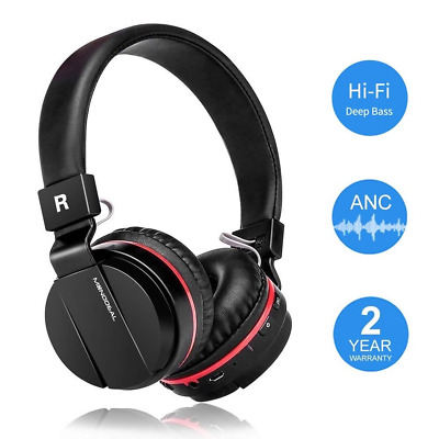 Active Noise Cancelling Wired/Wireless Bluetooth Headphones with Mic,Adjustable