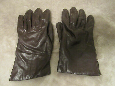 FOWNES Womens leather winter driving gloves lined size 7.5 BROWN  7 1/2 EUC