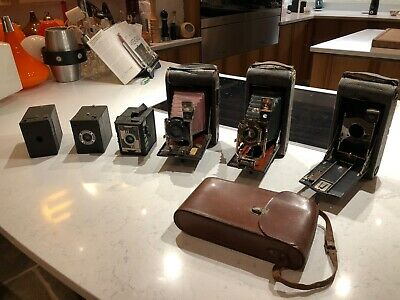 Collection of Antique Kodak Cameras Bellows and Box