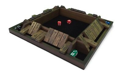 Deluxe 4 Player Shut the Box Game Large Premium Wood Tabletop Set with Dice New!