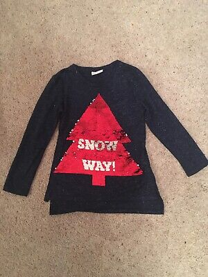 Next Girls Christmas Top Age 7 Years Navy Sparkle See Description