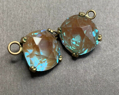 Antique Edwardian Faceted Glass Saphiret Set Stones 2 of 11mm Approx