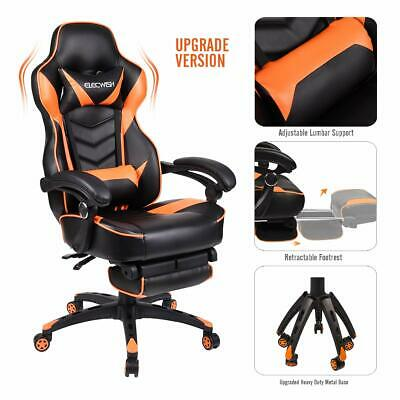 Video Gaming Chair Racing Office - Reclining PU Leather High Back Ergonomic A...