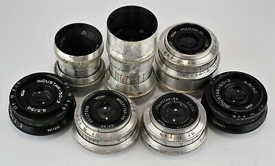 SET OF 7 DIFFERENT RUSSIAN USSR INDUSTAR lenses