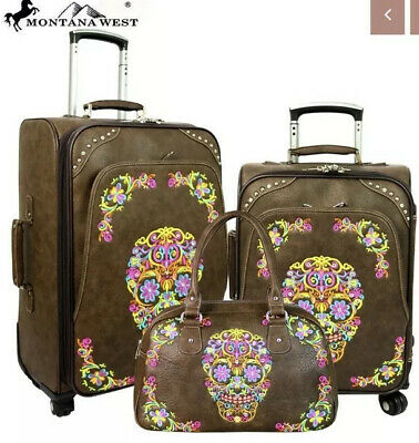 Montana West Sugar Skull Collection 3 Piece Luggage Set/Collection -Coffee/Brown