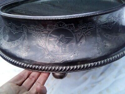 """Antique 19c English Victorian Silver Plate Mirror Plateau PSYCHE ANGEL 20.5"""""""