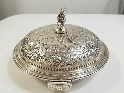 Georgian Sterling Silver Large Covered Vegetable Bowl Dragons 1840'S 1214 Grams