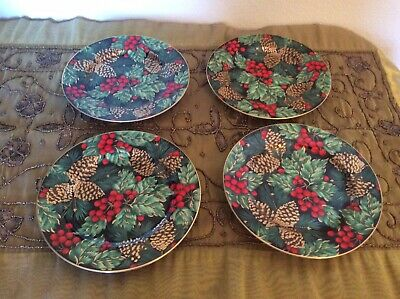 "NEW Set Of 4 Fitz And Floyd Holiday Pine Porcelain Plates  - 7 1/2"" Rare Size"