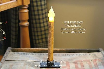 """Primitive Country Burnt Ivory 9"""" TIMER Battery Operated LED Taper Candle"""