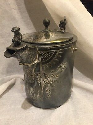 Antique Tilting Water Pitcher by Rogers Smith & Co New Haven Silver-plated, 1872