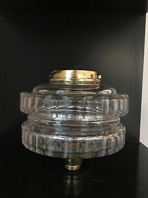 antique clear cut two tier and facet cut oil lamp fount bayonet fitting