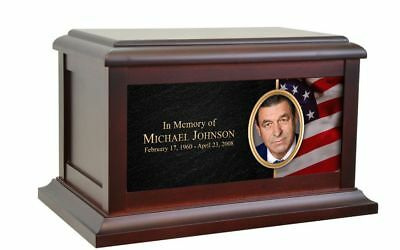 Large/Adult 200 Cubic Ins Rose Wood Funeral Cremation Urn for Ashes with Photo