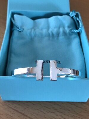 Tiffany & Co Sterling Silver T Square Hinged Bangle Bracelet