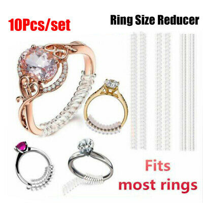 10pcs Invisible Ring Size Fix Reducer Clip Guard Spiral Adjuster Resizer Snugs