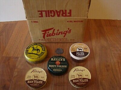Vintage Mid 1900's Fiebing's Box, Boot Polish, Shoe Cream, and Saddle Soap