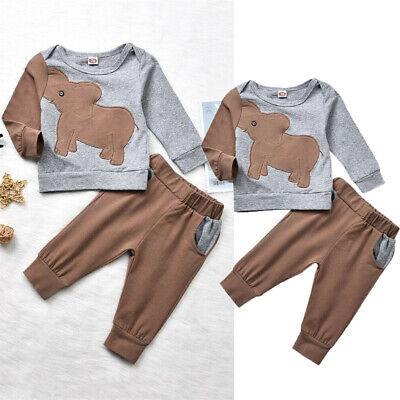 Newborn Infant Baby Boy Girls Cotton Clothes T-shirt Top+Pants Kids Outfits Sets