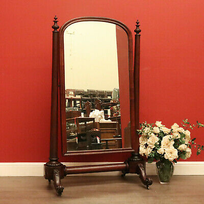 Antique English Mahogany Cheval Mirror Full Length Dressing Mirror - Swivel Tilt