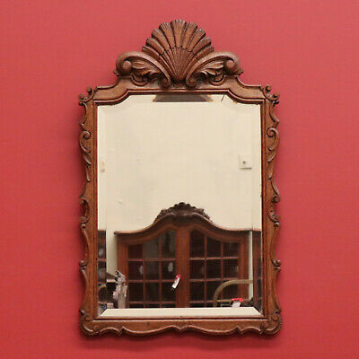 Antique French Oak Bevelled Edge Mirror Wall, Hall, Vanity, Bedroom Mirror