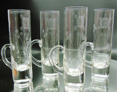 """Set (4) Bulgaria Crystal CORDIAL GLASSES Low Handles 4"""" Etched Floral Shot Glass"""
