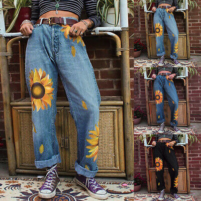 Women Pants Mom Jeans Sunflower Printed Loose Trousers Ladies Casual Slacks US