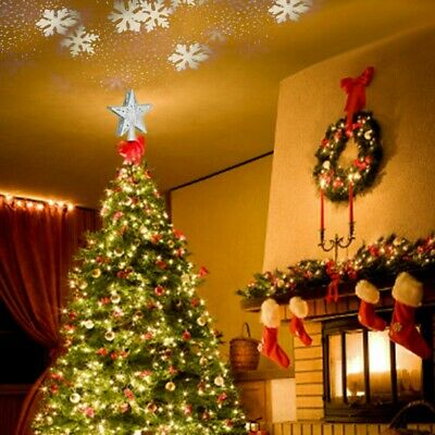 US 3D Hollow Star Christmas Tree Topper w/ LED Rotating Projector Sparkling Star