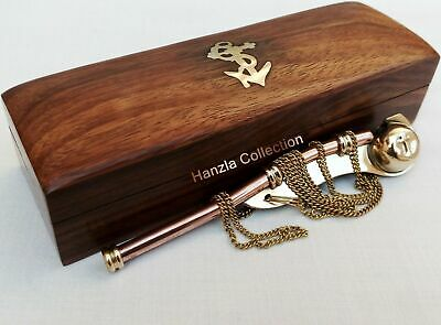 Brass/Copper Boatswain Whistle~Bosun Call Pipe~with Wood Box