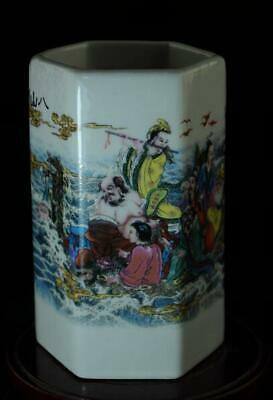 China Old Hand-made Pastel Porcelain Hand Painted Eight Immortals Brush Pot B02
