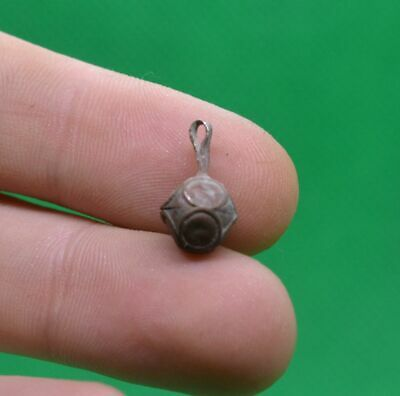 SUPERB ANCIENT CELTIC DRUIDS TINY BRONZE AMULET PENDANT -circa 200 BC
