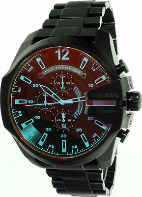 Diesel Men's Mega Chief DZ4318 Black Stainless-Steel Plated Japanese Automati...