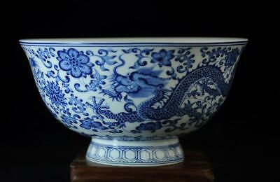 chinese old collection blue and white porcelain dragon bowl/qianlong mark b01