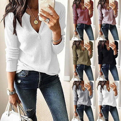 Womens Long Sleeve V-Neck Sweater Jumper Ladies Autumn Tops Blouse Pullover 6-18